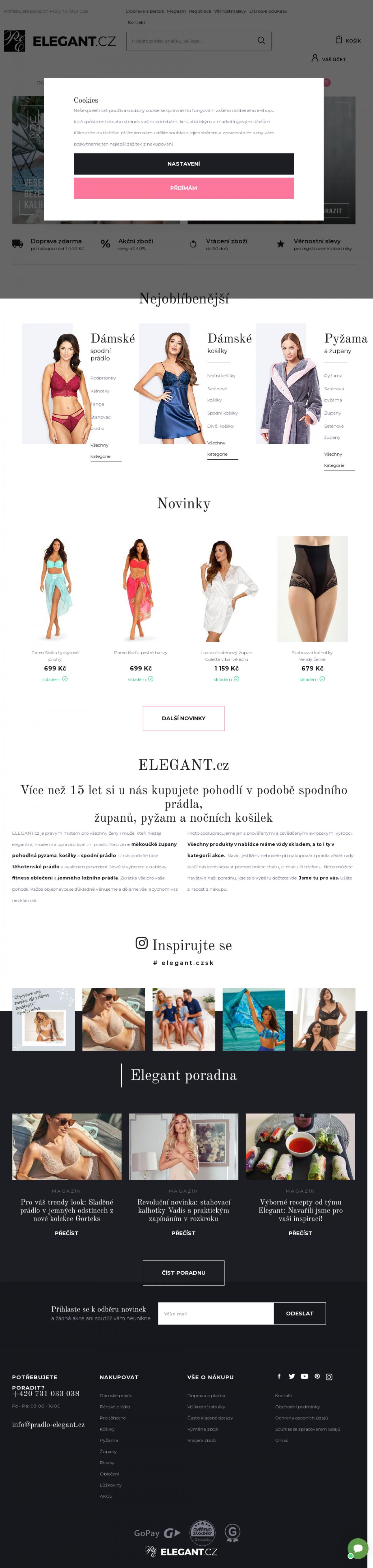 0f0531ff8a4 Náhled internetové stránky Vzled internetové stránky obchodu PRÁDLO-ELEGANT