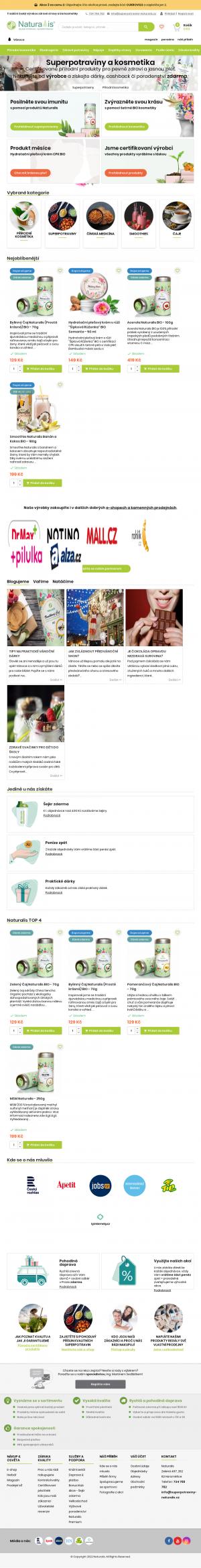 Vzled internetové stránky obchodu Naturalis
