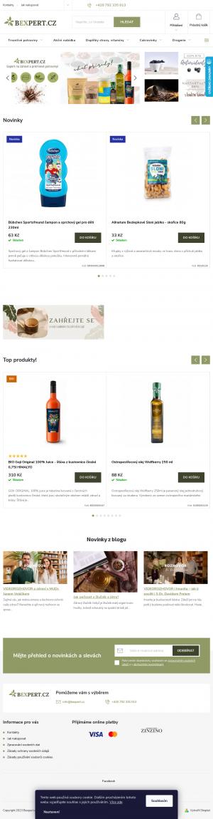 Vzled internetové stránky obchodu BEXPERT