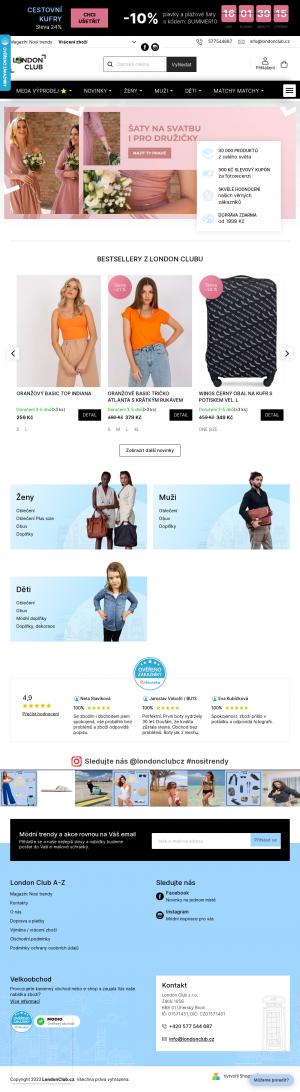 Vzled internetové stránky obchodu LONDON CLUB