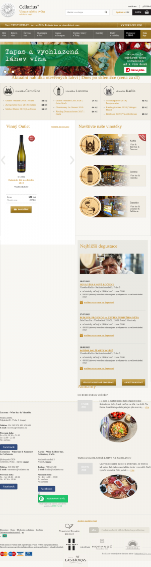 Vzled internetové stránky obchodu Cellarius