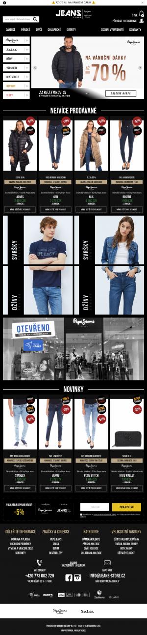 Vzled internetové stránky obchodu Jeans Store