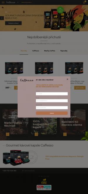 Vzled internetové stránky obchodu Cafeso