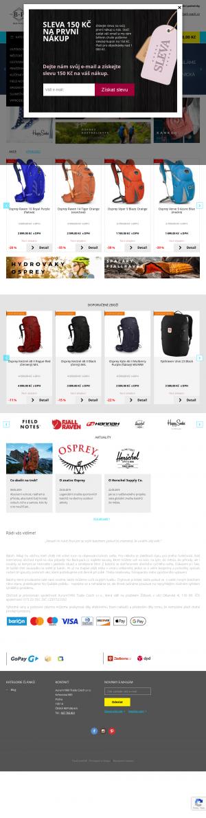 Vzled internetové stránky obchodu Back-Pack.cz