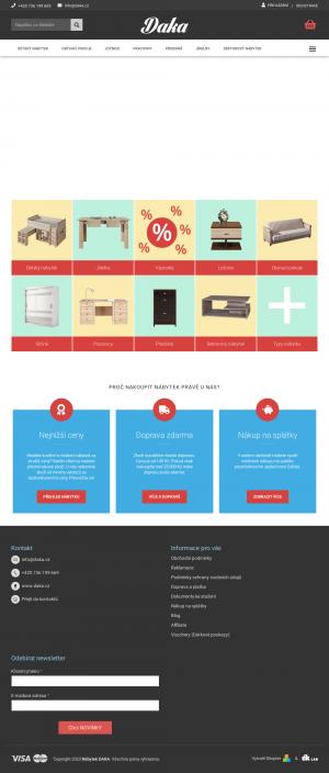 Vzled internetové stránky obchodu Daka