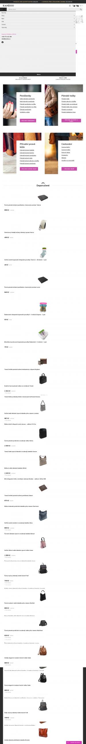 Vzled internetové stránky obchodu KANDOO