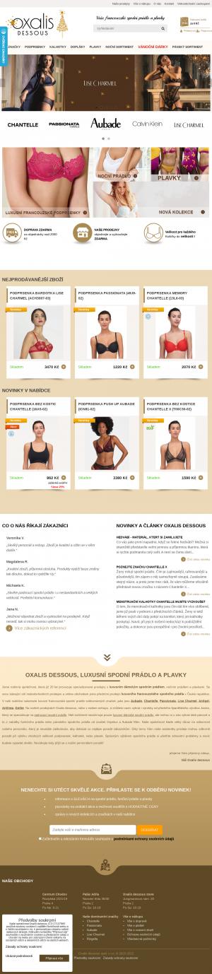 Vzled internetové stránky obchodu Oxalis dessous
