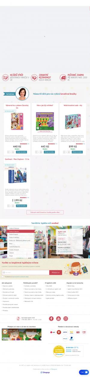 Vzled internetové stránky obchodu Agátin svět
