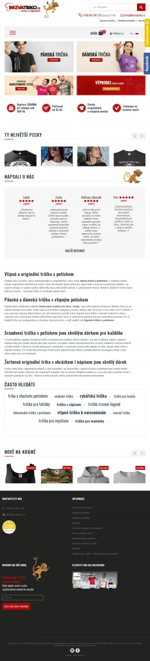 Vzled internetové stránky obchodu Bezvatriko.cz