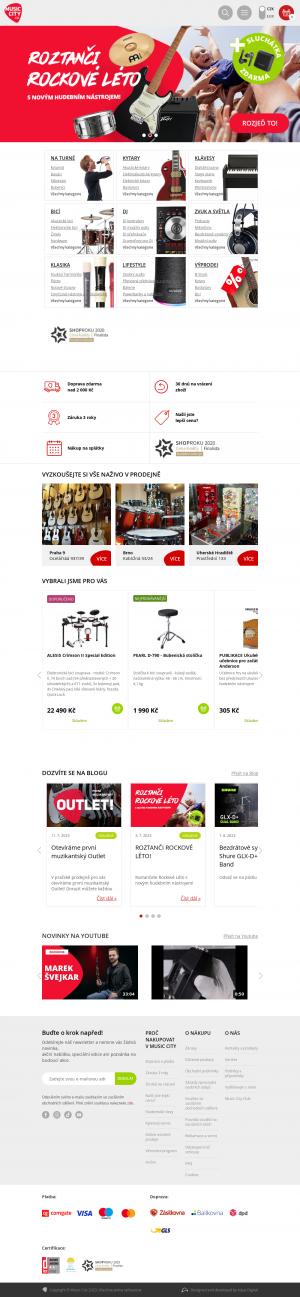 Vzled internetové stránky obchodu MUSIC CITY