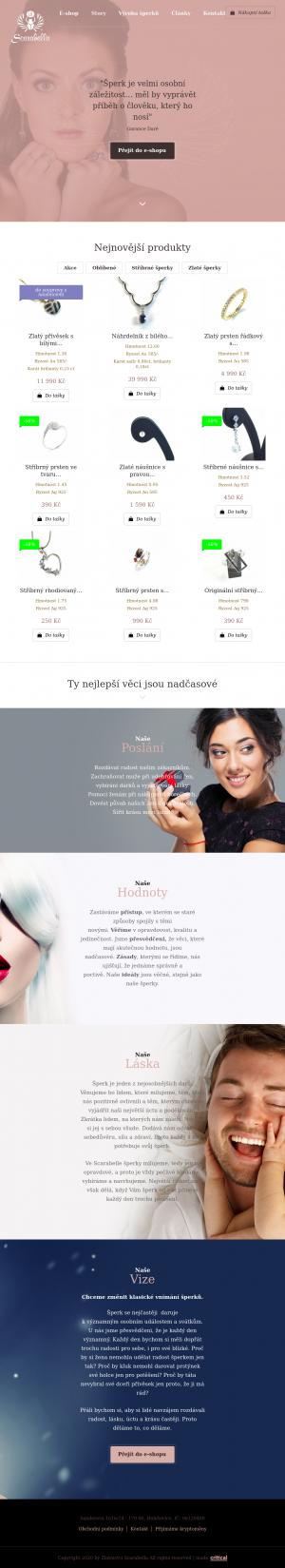 Vzled internetové stránky obchodu Scarabella