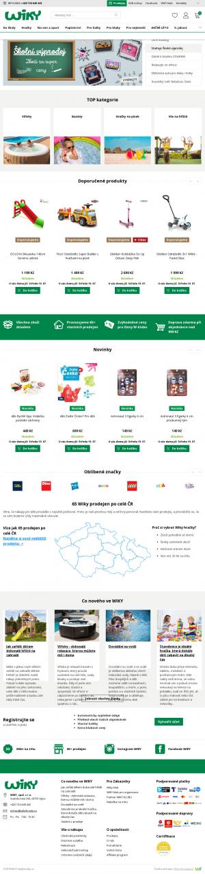 Vzled internetové stránky obchodu Wiki hračky
