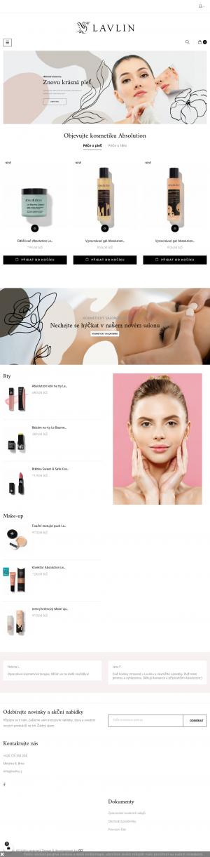 Vzled internetové stránky obchodu LAVLIN