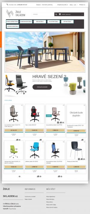 Vzled internetové stránky obchodu Židle skladem