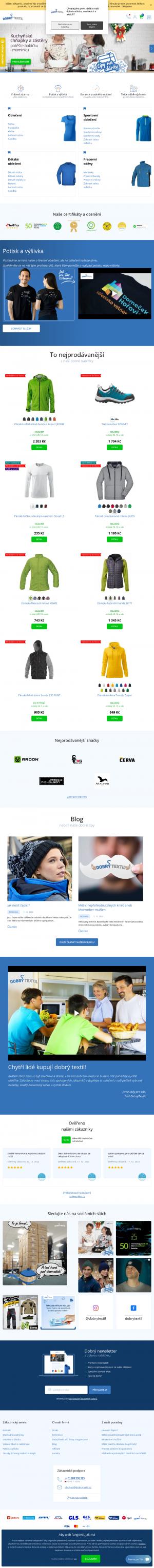 Vzled internetové stránky obchodu DOBRÝ TEXTIL