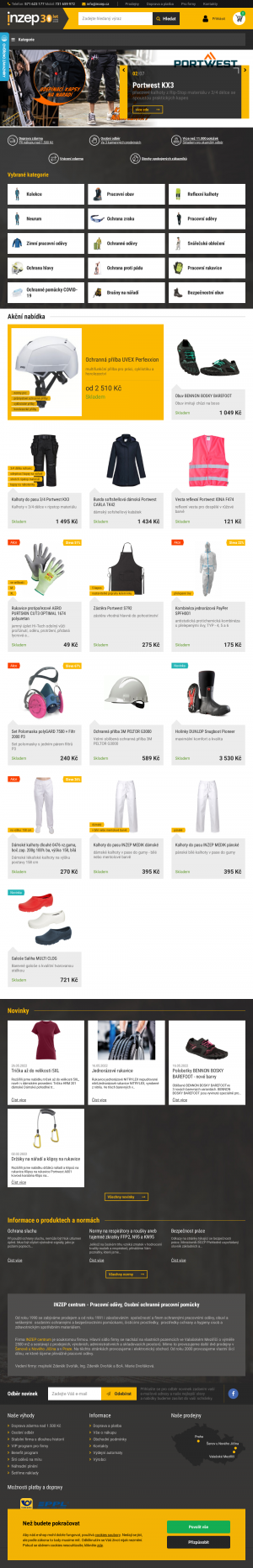 Vzled internetové stránky obchodu INZEP