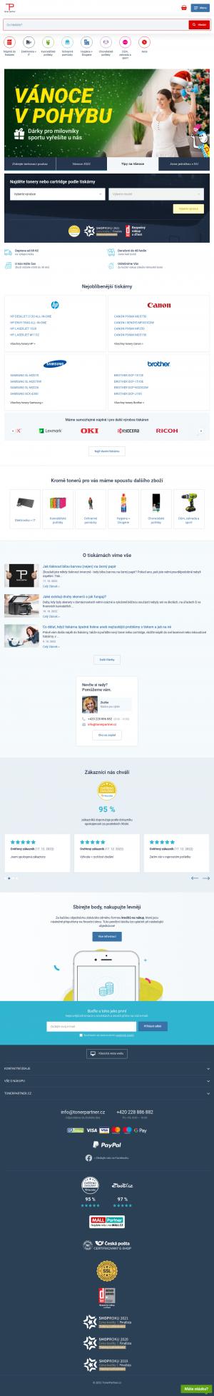 Vzled internetové stránky obchodu TonerPartner