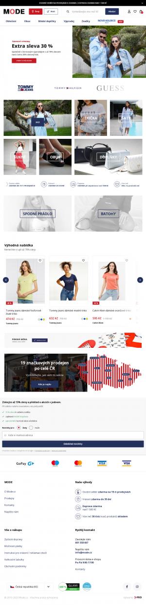 Vzled internetové stránky obchodu Mode.cz