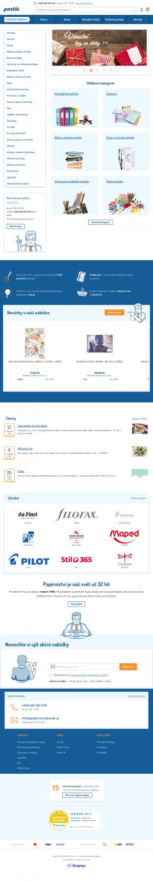 Vzled internetové stránky obchodu Papírnictví Pavlík CZ