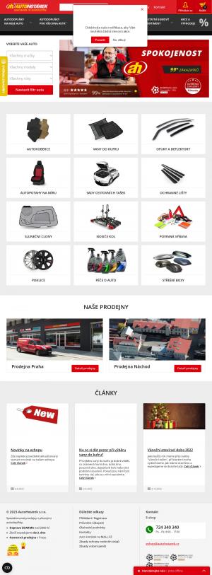 Vzled internetové stránky obchodu Auto Hotárek