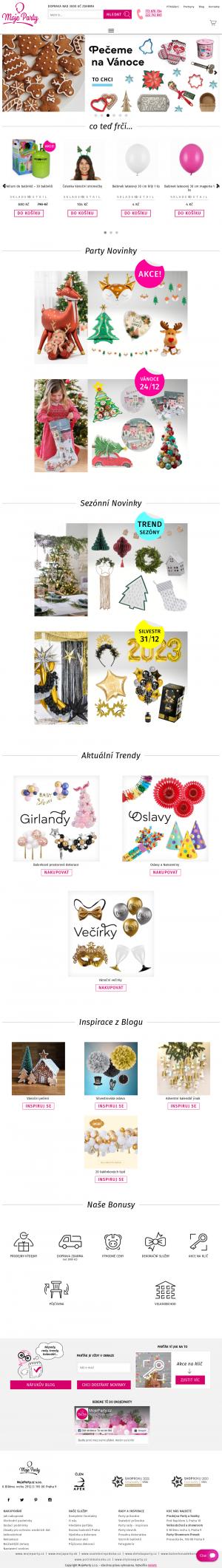 Vzled internetové stránky obchodu Moje Party