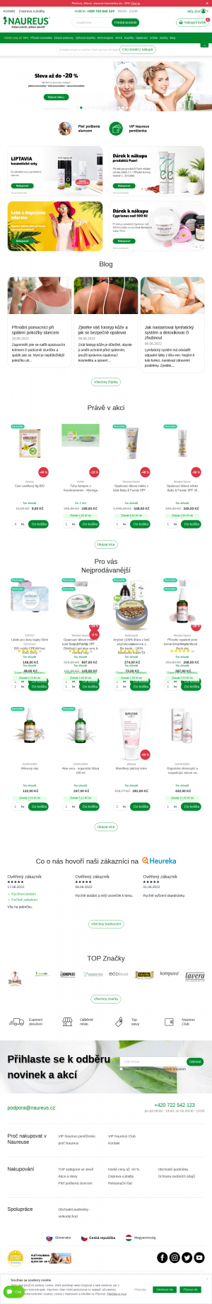 Vzled internetové stránky obchodu Naureus