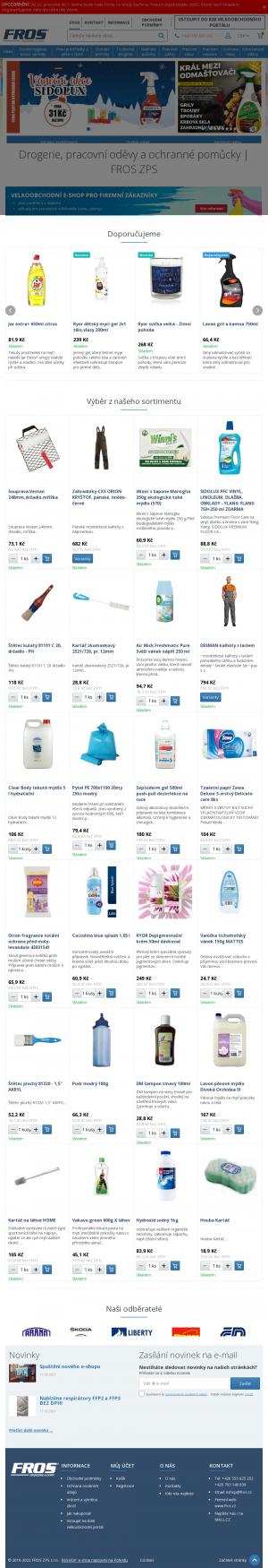Vzled internetové stránky obchodu Pracovní oděvy a ochranné pracovní pomůcky, drogerie - FROS ZPS e-shop