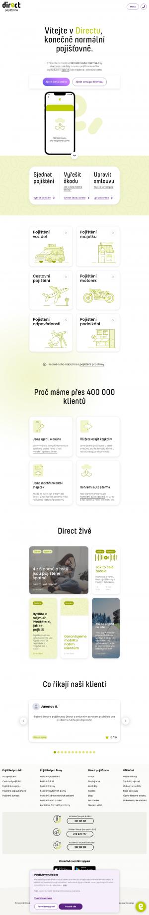 Vzled internetové stránky obchodu Direct