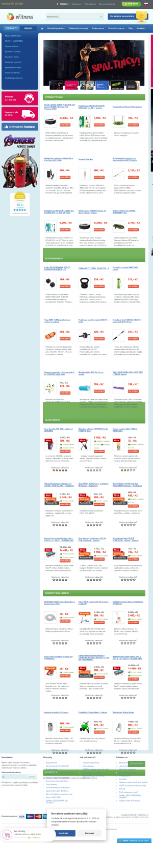 Vzled internetové stránky obchodu eFitness