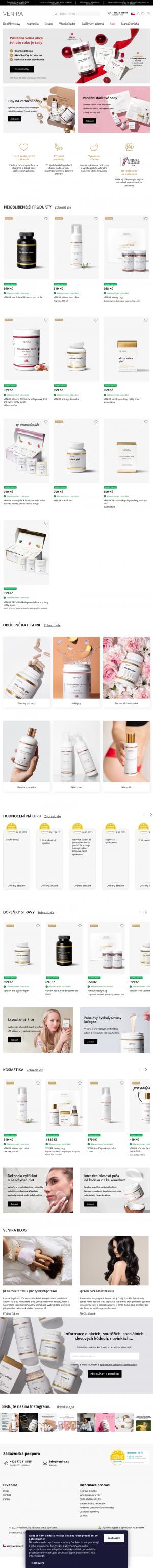 Vzled internetové stránky obchodu Venira