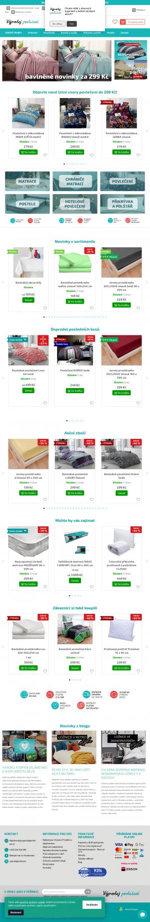 Vzled internetové stránky obchodu Výprodej povlečení