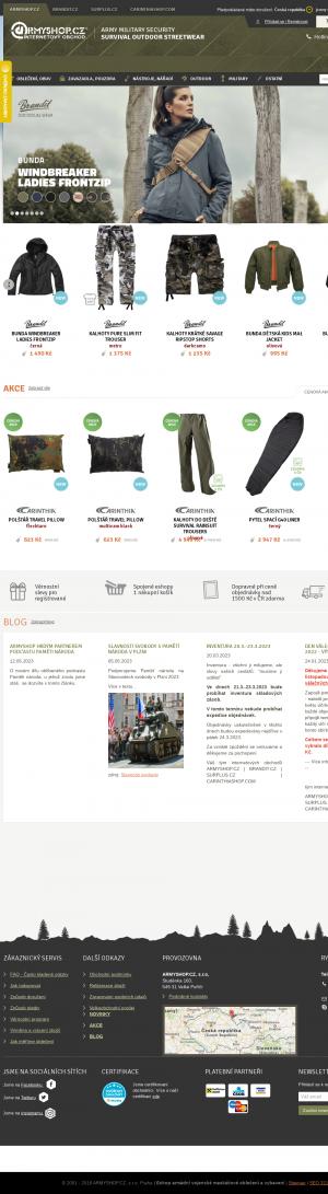 Vzled internetové stránky obchodu Armyshop.cz