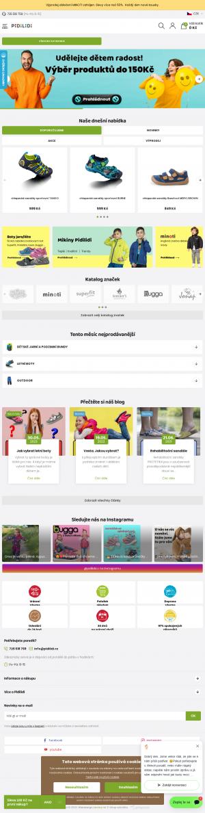 Vzled internetové stránky obchodu Pidilidi