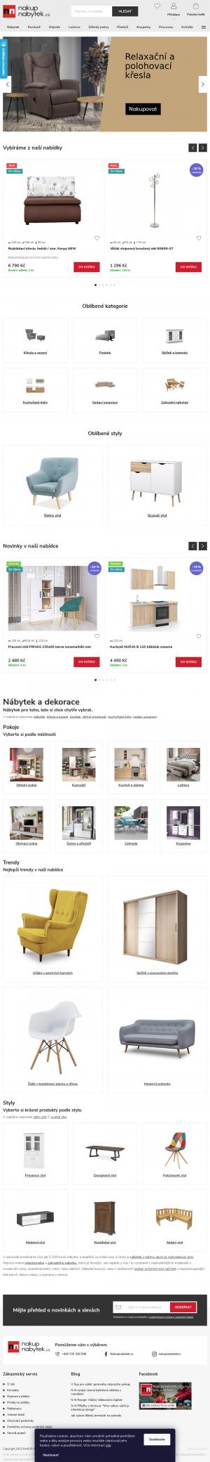 Vzled internetové stránky obchodu nakup nabytek.cz