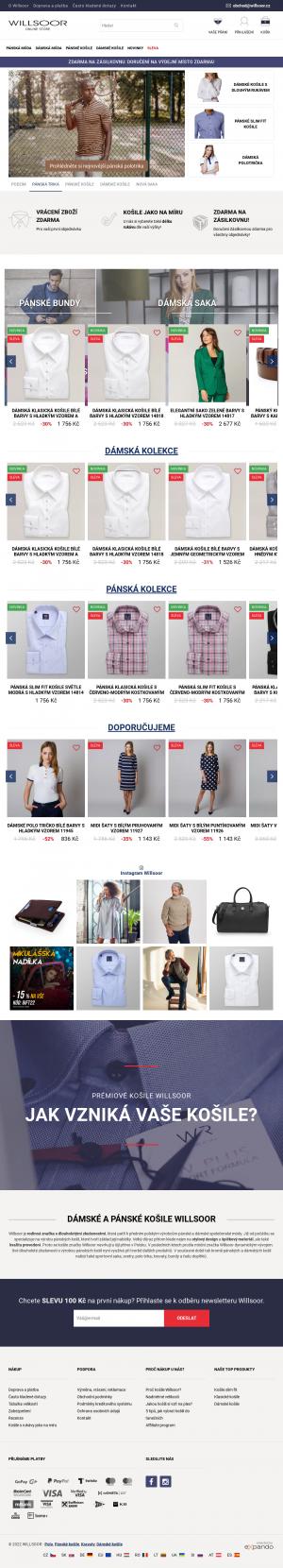 Vzled internetové stránky obchodu WILLSOOR