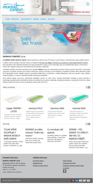 Vzled internetové stránky obchodu MORAVIA COMFORT