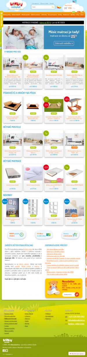 Vzled internetové stránky obchodu Baby nábytek