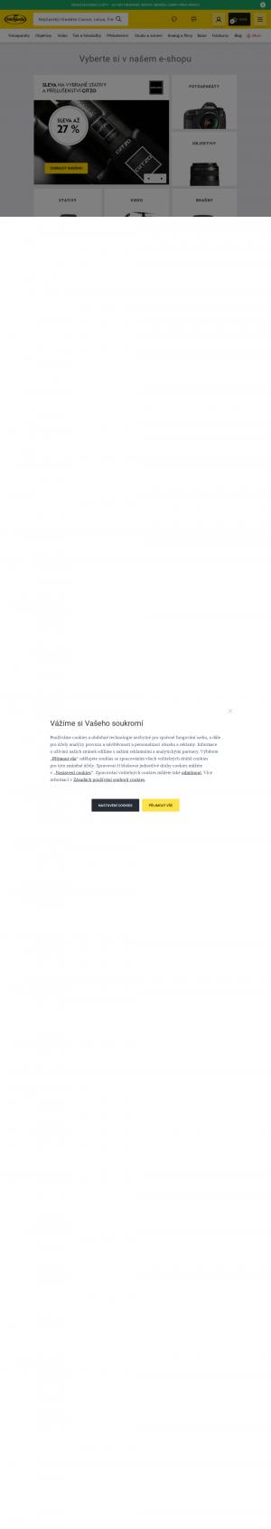 Vzled internetové stránky obchodu FotoŠkoda