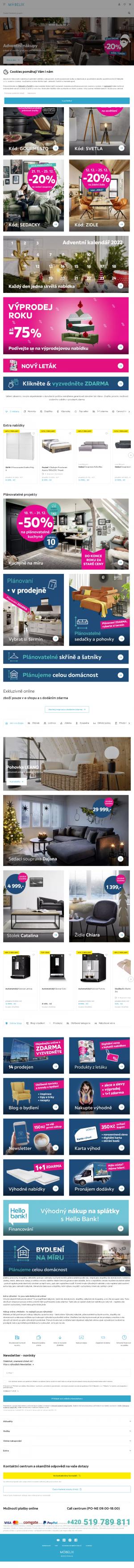 Vzled internetové stránky obchodu Möbelix