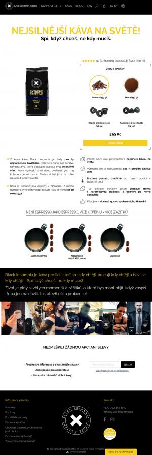 Vzled internetové stránky obchodu Black Insomnia Coffee