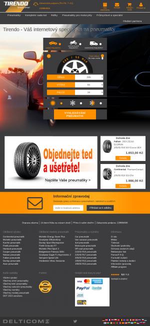 Vzled internetové stránky obchodu Tirendo
