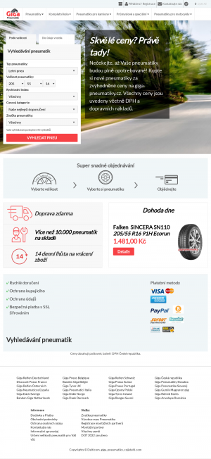 Vzled internetové stránky obchodu Giga Pneumatiky