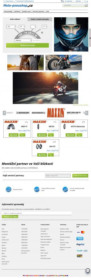 Vzled internetové stránky obchodu Moto-pneushop.cz