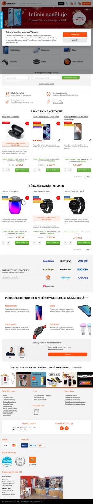 Vzled internetové stránky obchodu f-mobil