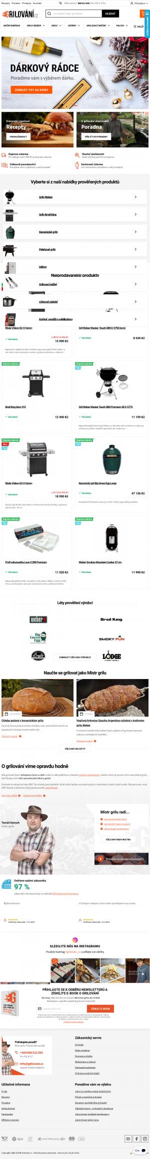 Vzled internetové stránky obchodu Grilování.cz