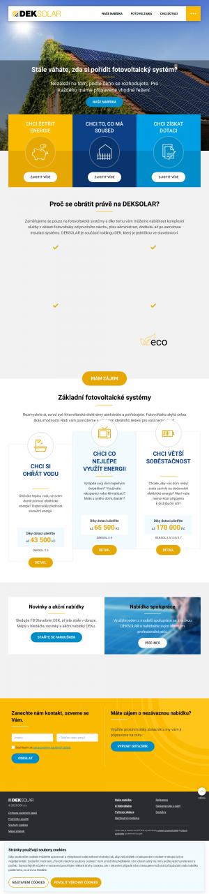 Vzled internetové stránky obchodu DEKSOLAR