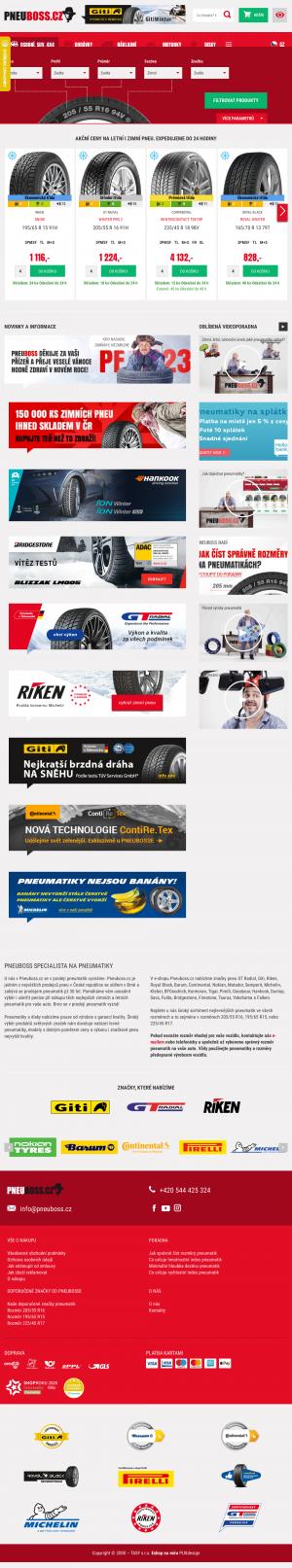 Vzled internetové stránky obchodu PNEUBOSS.CZ