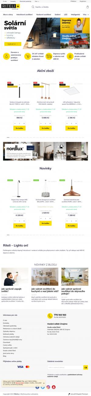 Vzled internetové stránky obchodu RITELI