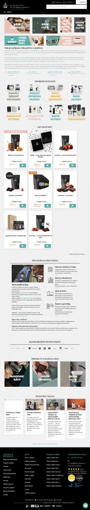 Vzled internetové stránky obchodu Lázeňská káva