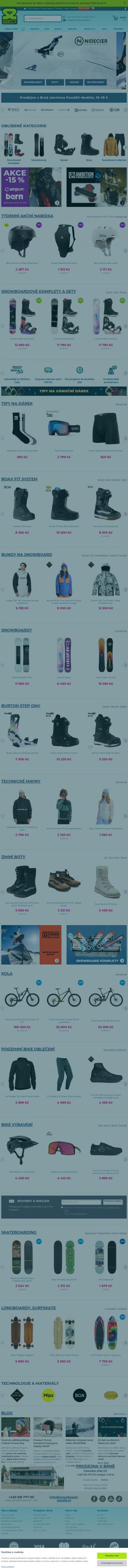 Vzled internetové stránky obchodu SNOWBOARD ZEZULA